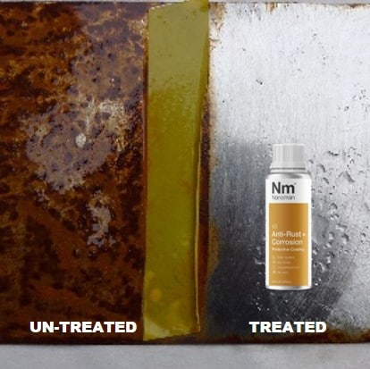 treated vs unreated Nanoman anti rust