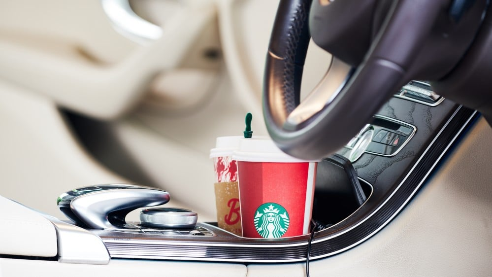 car interior with coffee